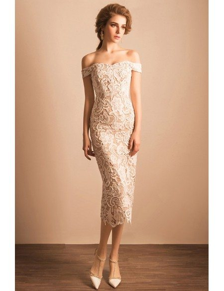 Simple All Lace Ivory Midi Formal Dress With Off Shoulder Straps