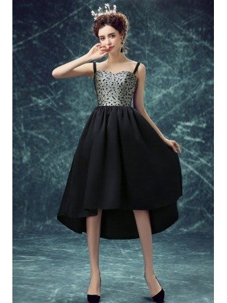 Special Black Polka Dot High Low Prom Party Dress With Straps