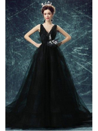 Simple Black Sexy V-neck Formal Party Dress Long Gown With Train