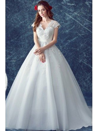 Elegant Cap Sleeve V Neck Lace Bridal Dress With Lace Train