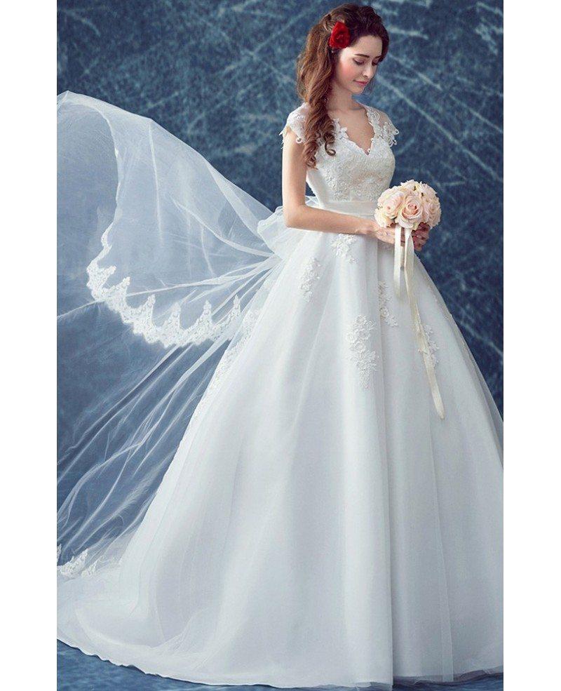 All Lace Wedding Dress: Elegant Cap Sleeve V Neck Lace Bridal Dress With Lace