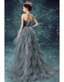 Strapless Grey High Low Feathers Prom Dress With Cascading Ruffles