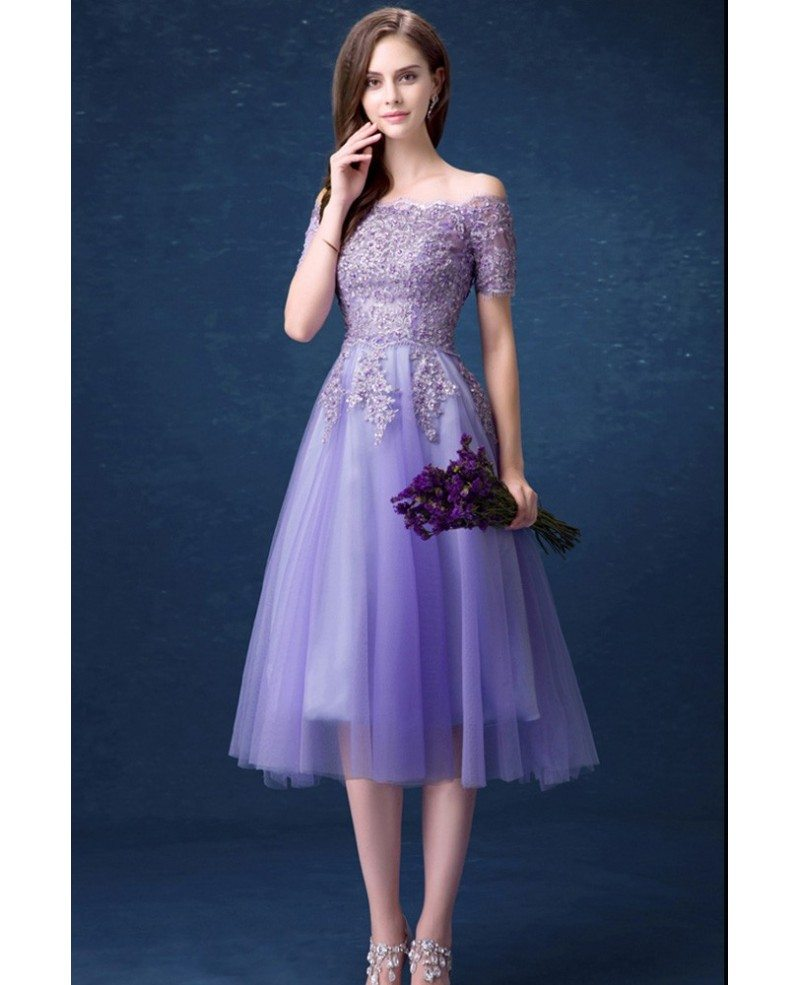 Beautiful Lavender Lace Beading Prom Dress With Off Shoulder Short Sleeves Wholesale T69591 Gemgracecom