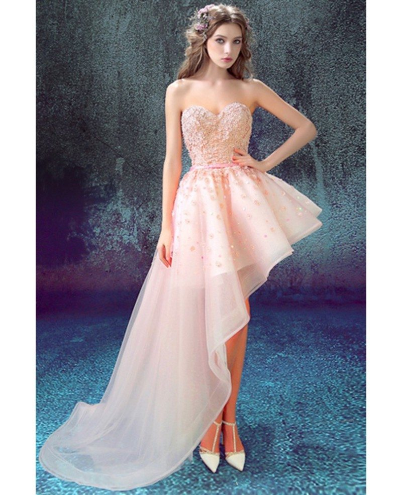Unique Pink Side High Low Homecoming Dress With Floral