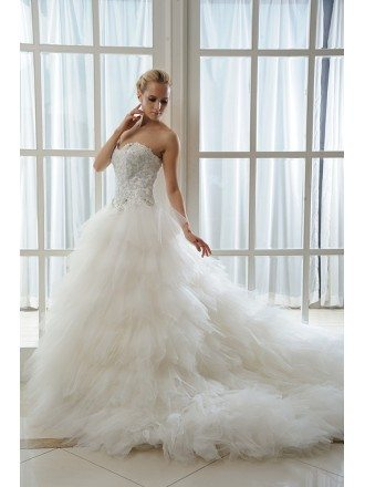 Ball-Gown Sweetheart Chapel Train Organza Wedding Dress With Beading Cascading Ruffles