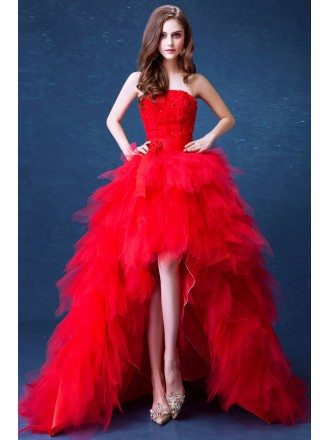 Strapless Red Cascading Ruffled Flower Formal Dress In High Low Style