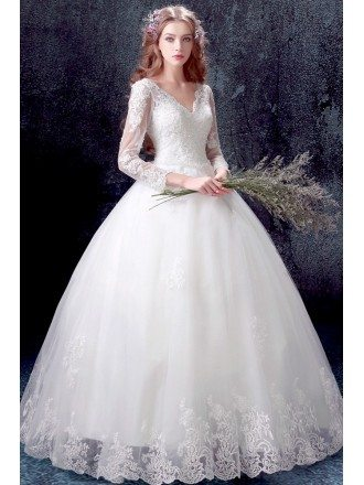 Traditional Lace Beaded Ball Gown Wedding Dress With Long Sleeves