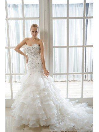 Mermaid Sweetheart Chapel Train Organza Wedding Dress With Beading Ruffles