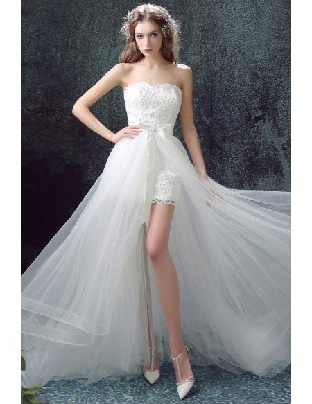 Strapless Lace Short Bridal Dress With Long Detachable Skirt