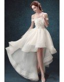 Outstanding Hi Lo Lace Wedding Dress With Off Shoulder Straps