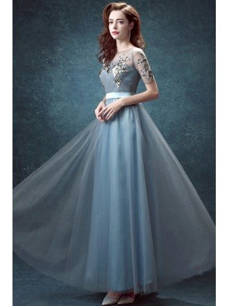 Elegant Ink Blue Sleeve Pleated Prom Dress Long With Sequin Applique