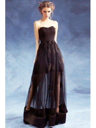 Strapless Black Long Lace Party Dress With Sheer Tulle Skirt