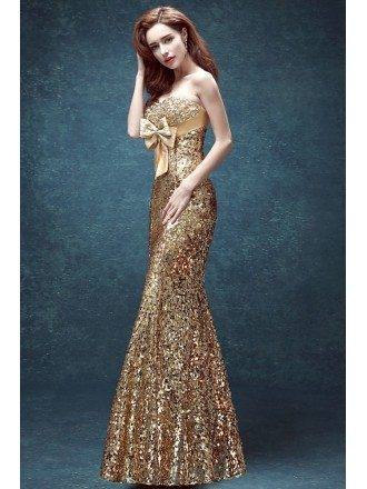 Luxury Sparkly Gold Tight Mermaid Prom Dress Strapless With Bow