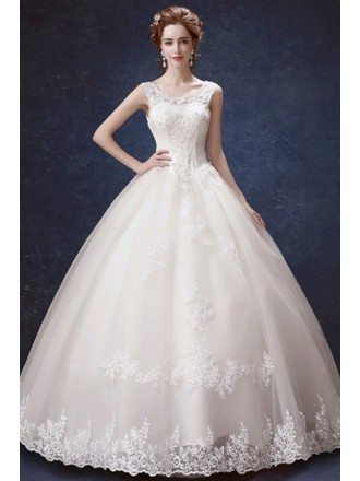 Traditional Lace Beaded Ballroom Wedding Gown With Off Shoulder Strap