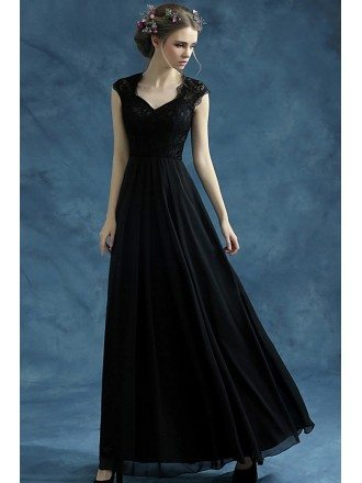 Vintage Black Chiffon Long Evening Dress With Lace Bodice
