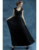 Vintage Black Chiffon Long Evening Dress With Lace Bodice