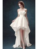 Strapless White Satin Floral Prom Party Dress In High Low Style