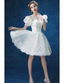 Modest Short Lace Wedding Party Dress With Bubble Sleeves