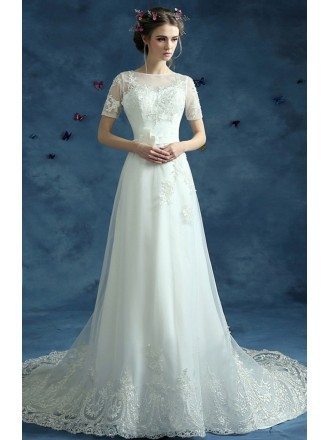 Modest Graceful Lace Long Wedding Dress Train With Short Sleeves