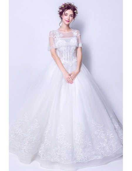 Cheap Lace Ballgown Wedding Dress With Beading Tassel Cape