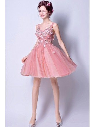 Super Cute Pink Tulle Prom Party Dress Short With Flowers