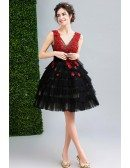 V Neck Black With Red Flowers Short Prom Party Dress Sleeveless