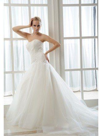 Mermaid Sweetheart Chapel Train Tulle Wedding Dress With Beading