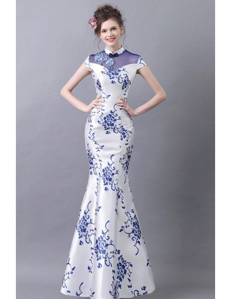 Vintage Blue And White Tight Formal Dress With Printed Floral