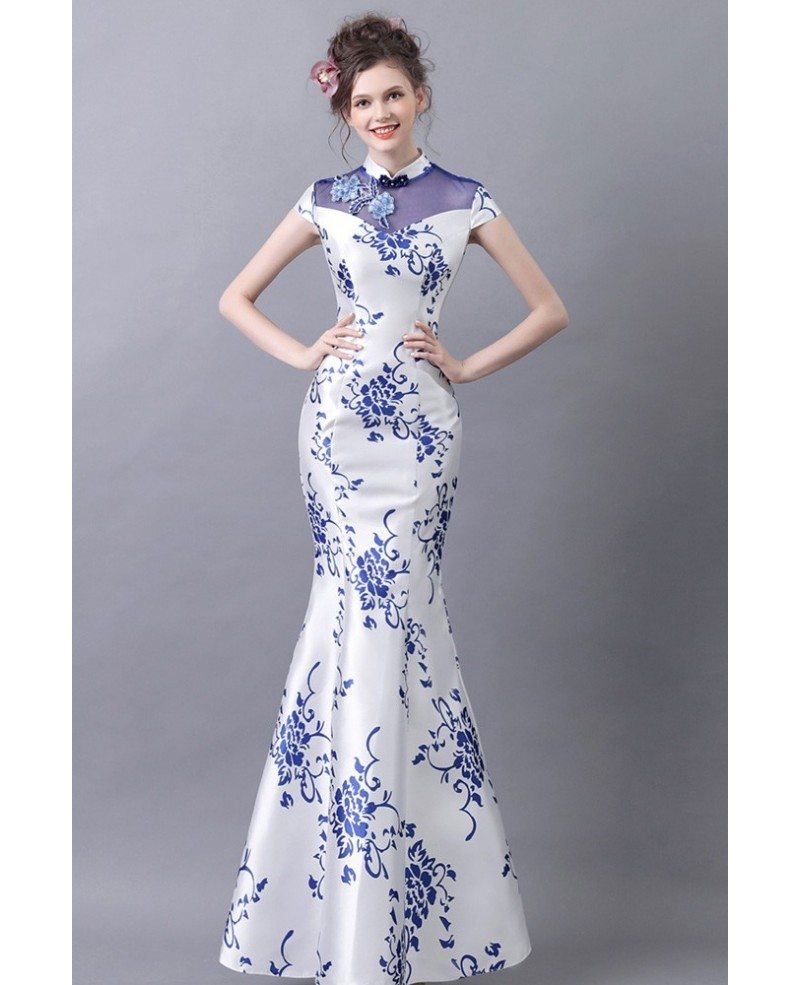 good texture sale uk coupon code Vintage Blue And White Tight Formal Dress With Printed Floral ...