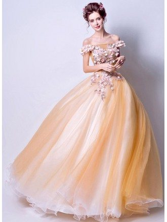 Dreamy Yellow Flower Ballgown Quinceanera Dress 2019 With Off Shoulder