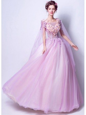 Romantic Floral Lilac Ball Gown Prom Dress With Flowing Tulle Sleeves