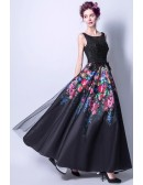 Floral Printed Black Lace Formal Dress Long With Scoop Neck