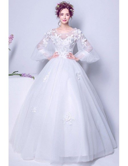 Puffy Sleeve Long White Floral Bridal Gown For 2019 Winter Wedding