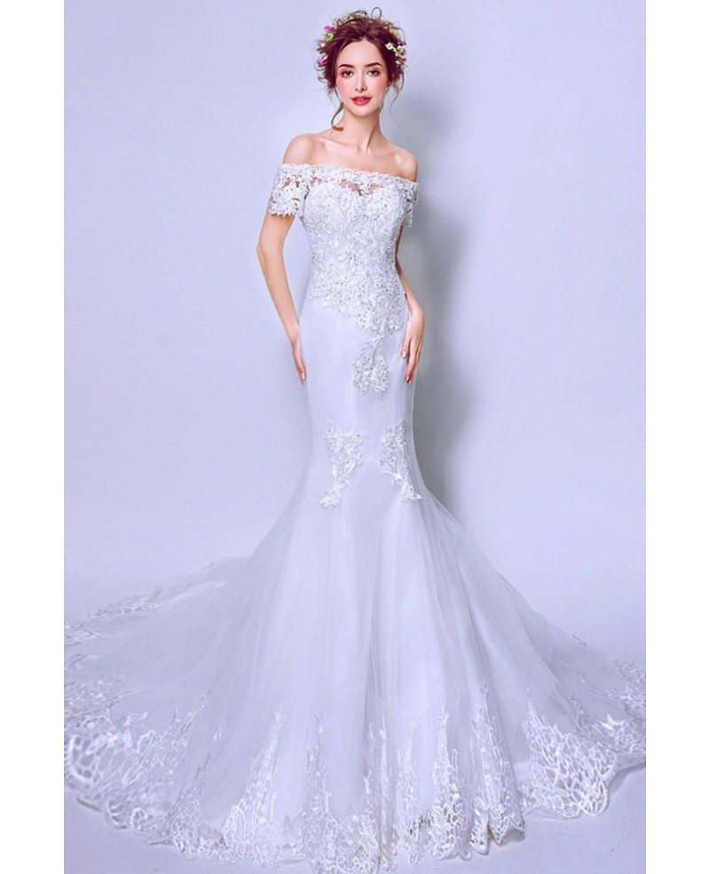 Fit And Flare Lace Train Wedding Dress With Off Shoulder Straps Wholesale T69452 Gemgrace Com,Mens Dress Attire For Wedding