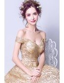 Sparkly Starry Gold Sequin Prom Dress Ball Gown With Off Shoulder Straps