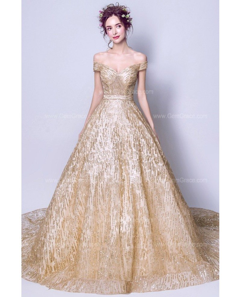 2019 wholesale price largest selection of 100% top quality Sparkly Starry Gold Sequin Prom Dress Ball Gown With Off Shoulder Straps  Wholesale #T69451 - GemGrace.com