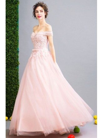 Blush Pink Lace Beaded Quinceanera Ball Gown Dress With Off Shoulder Straps