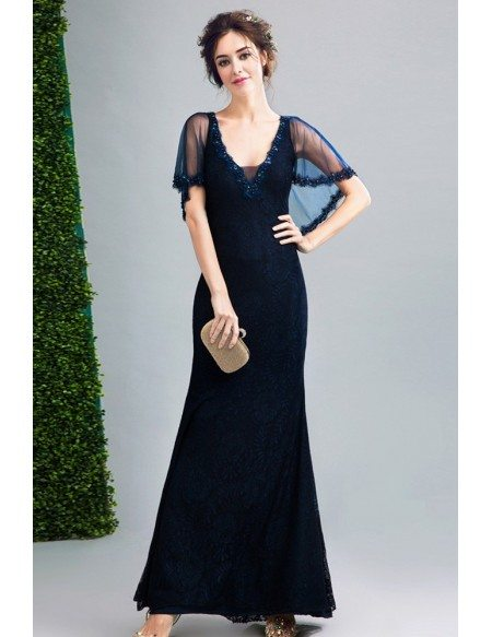 2019 Dark Navy Blue Lace Fitted Formal Dress Sweetheart With Cape Sleeves Wholesale T69456 Gemgracecom