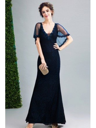 2019 Dark Navy Blue Lace Fitted Formal Dress Sweetheart With Cape Sleeves