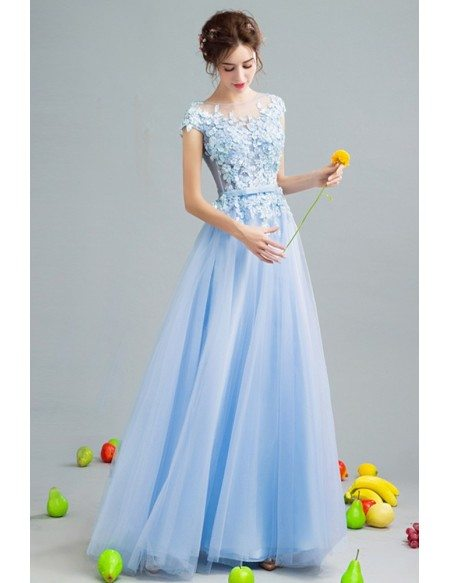 2019 Gorgeous Sky Blue Tulle Prom Dress With Flower Lace Bodice