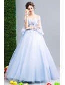Off Shoulder Puffy Sleeve Blue Prom Dress Ball Gown With Beading Flower