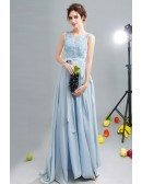 Flowy Blue Open Back Chiffon Prom Dress With Lace Beading Top