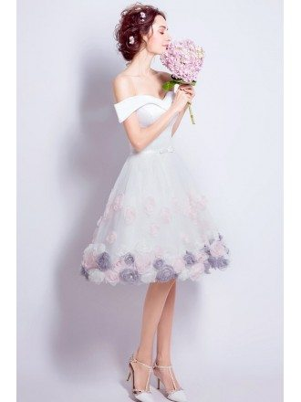 Off Shoulder White Short Homecoming Dress With Color Flower Skirt