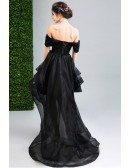 Sexy Black High Low Prom Dress With Off The Shoulder Straps