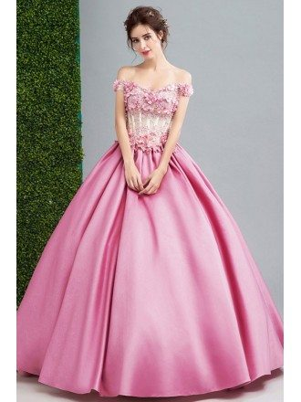 Fairy Pink Flower Beading Ballroom Prom Dress With Off Shoulder Straps