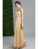 Charming Backless Gold Shining Formal Dress Sequined In Floor Length