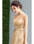 Inexpensive Vintage Gold Shiny Prom Formal Dress Long For Women
