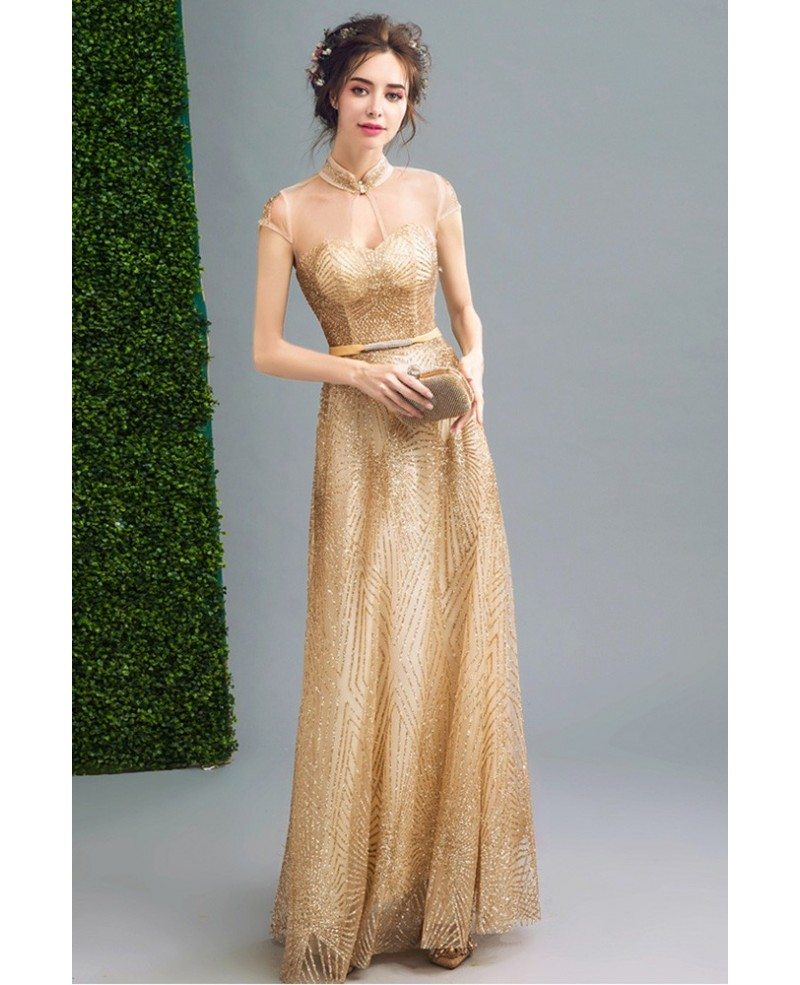Inexpensive Vintage Gold Shiny Prom Formal Dress Long For Women Whole T69474 Gemgrace