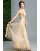 Sparkly Champagne Fitted Long Prom Dress Sleeveless With Sequins