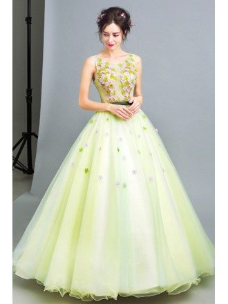 Lime Green Ball Gown Quinceanera Dress With Romantic Beaded Flowers